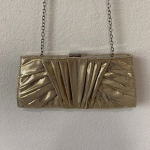 Kate Landry Gold Metallic Clutch with Strap